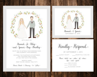 Custom Portrait Wedding Invitation Set