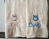 Owl Towels / Custom Embroidered Owl Towel / Monogrammed Owl Towels