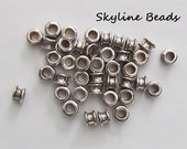 Large Hole Tibetan Style European Beads, Antique Silver, 6.5mm x 4mm - Great Spacer Beads!