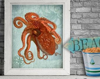 Coastal Life Octopus Print 1 - nautical print beach decor Nautical décor beach house wall art Coastal Print Beach home décor seaside art