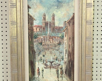 Rome Spanish Steps -Original Oil Painting on Canvas by Armando Romano