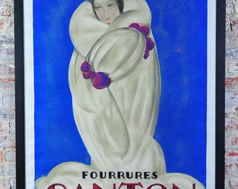 "Fourrures Canton ""Original"" 1930s Art Deco French Poster by Loupot Charles -Rare"