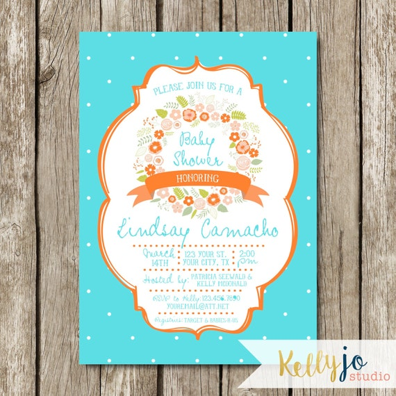 baby shower turquoise and coral baby shower baby shower invitation