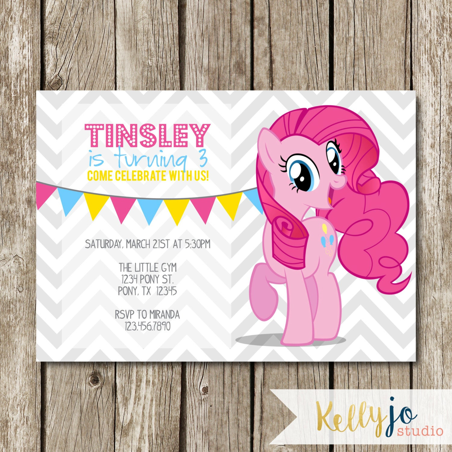 Pinkie Pie My Little Pony Birthday Invites Pink My Little