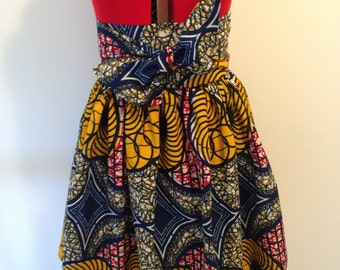 African Print High Waist Gathered Skirt