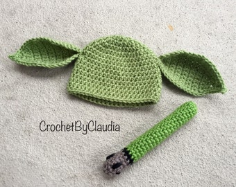 Crochet Yoda and lightsaber Beanie Set/Star Wars/Yoda Beanie/Photography Prop/Made to Order