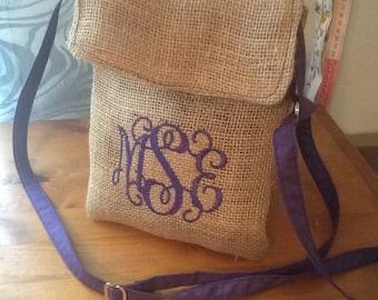 Small Monogram Burlap Cross Body Purse /Bag with Adjustable Strap