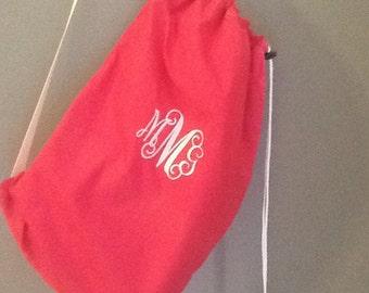 Monogram/Name Solid Color Cotton Laundry Bag with Shoulder Strap-Standard Size