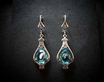 Silver Earrings Aqua Glass Cabochon Victorian Mermaid FREE SHIPPING USA
