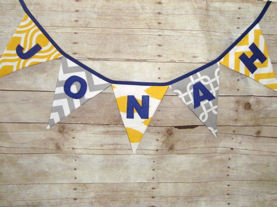 Custom Name Banner - Personalized bunting - Grey and Yellow Banner - Baby Shower Banner - Party Decoration - Name Sign - Birthday Bunting