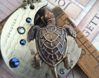 Sea turtle steampunk necklace Artisan Jewelry - The Victorian Magpie