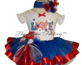 4th of July Tutu . LOVE Royal Blue with RIbbon Tutu Set . Infant & Toddler