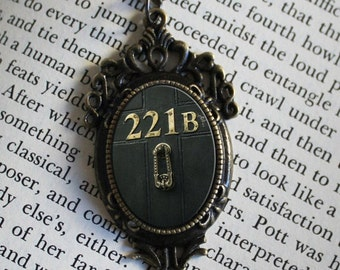 "SHERLOCK  ""221B"" Door  Pendant Necklace, Sherlock Holmes,Fan Jewelry, Great Gift"