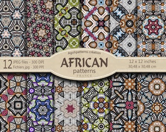 12 AFRICAN PATTERNS large size 30.48 X 30.48 - african background - arriere plan