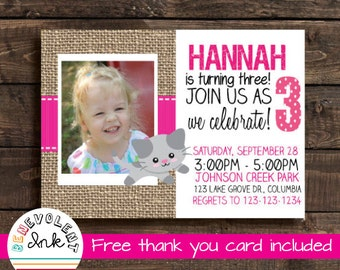 Cat Birthday Party Invitation - Kitten Kids Birthday Party Invite with FREE Thank You Card