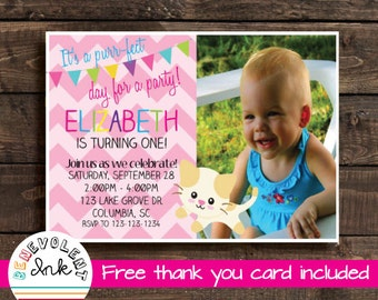 Cat Printable Birthday Invitation - Kitten Birthday Party Invite - First Birthday Girl - First Birthday Invitation - Cat Theme Birthday