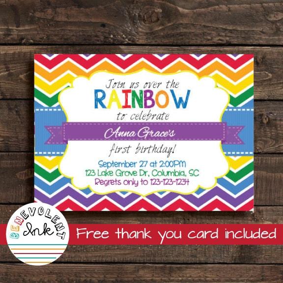 Rainbow Birthday Invitation Rainbow Birthday Party Invite First