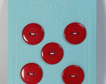 5 Buttons resin 22mm 2 holes red.