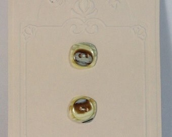 2 Buttons in mother of pearl beige and brown 15 mm 2 holes.
