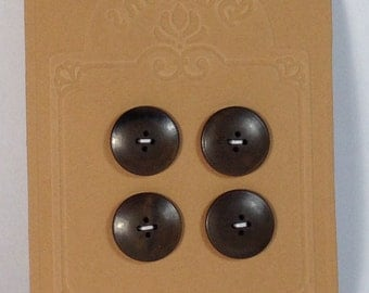 4 Buttons vintage in plastic brown 20 mm 4 holes.