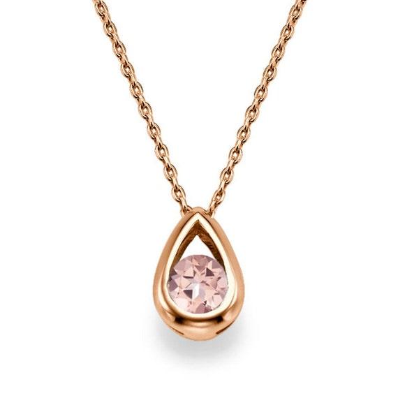 drop shape morganite pendant necklace 14k gold pendant