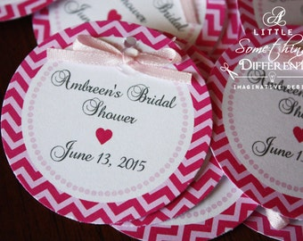 Hot Pink Chevron and Light Pink Bridal Shower/Wedding Tag with Bow