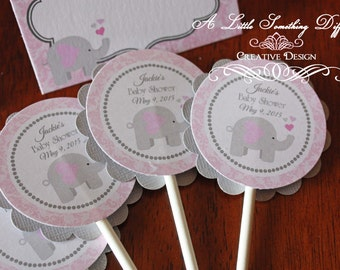 Girl Elephant Cupcake Toppers / Pink Damask Cupcake Toppers with Elephant / Pink and Grey Baby Shower Cupcake Toppers