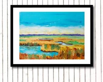 Coastal Landscape Painting, Coastal Art, Abstract Landscape Print, Coastal Landscape Art, Beach House Decor