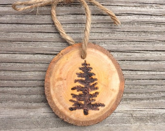 Pine Tree Wood Burned Ornament