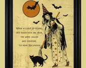 Classic Witch Poster, Vintage Halloween Print, Spooky Black Cat and Witch Sign, Halloween Poem