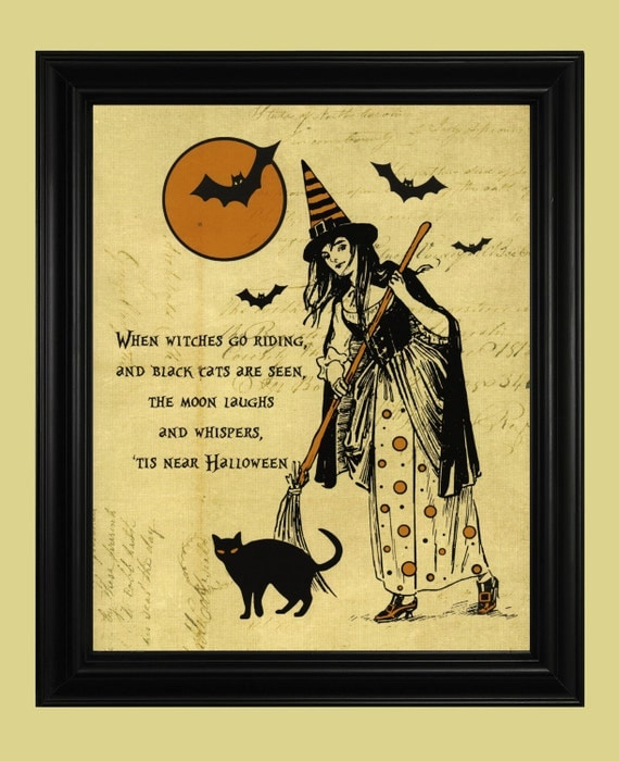 Classic Witch Poster Vintage Halloween Print Spooky Black