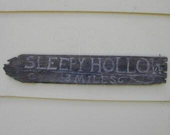Original Primitive Folk Art Sleepy Hollow Halloween Sign Painting Decor Creepy Decoration Reclaimed Wood Barnwood