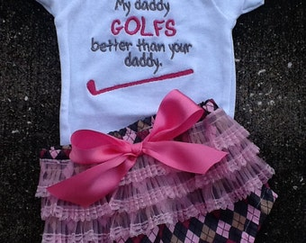 My Daddy Golfs Better Onesie and Diaper Cover