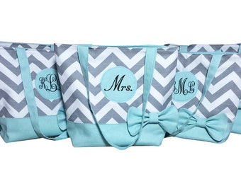 Bridal Tote Set in Gray Chevron and Light Blue with Bow