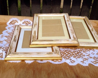Painted Distressed Frames - Special Offer - Vintage Trio Of Hand Painted Antique White And Old Gold Shabby Chic Picture Frames