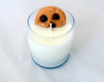 Chocolate Chip Cookies Candle, Milk Glass candle, 8 oz candle, decorative candle, scented soy candles,  cookie candle, dessert candle