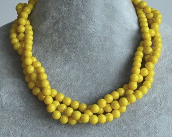 yellow bead necklace,3 strands 8mm yellow pearl necklace,statement necklace, twist necklace, yellow necklace,wedding yellow color necklaces