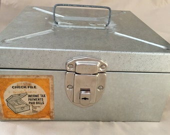 "Vintage ""File-A-Way"" Check Filing Metal Box with Key"