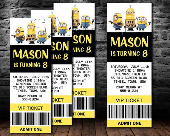 Minion Movie Invitation Movie Ticket MINIONS Party