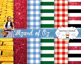 Digital scrapbook paper, Digital scrapbook paper, Wizard of Oz Digital paper, Wizard of Oz party, Digital paper pack, Ruby slippers, Oz