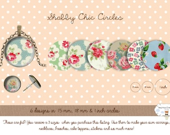 Floral digital circles - Shabby Chic circles - collage sheet - 1 inch circle - bottle cap - circles patterns - DIY pendants - 15mm - 18mm