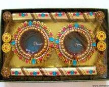 Candle Diya Platter Golden - 2 Big Gel Diyas with Zari & Bead Work Home Decor Indian Handicraft Round-Set of 4 from India Home and Livin