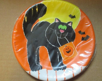 Hallmark Black Cat Halloween 8-7 Inch Plates
