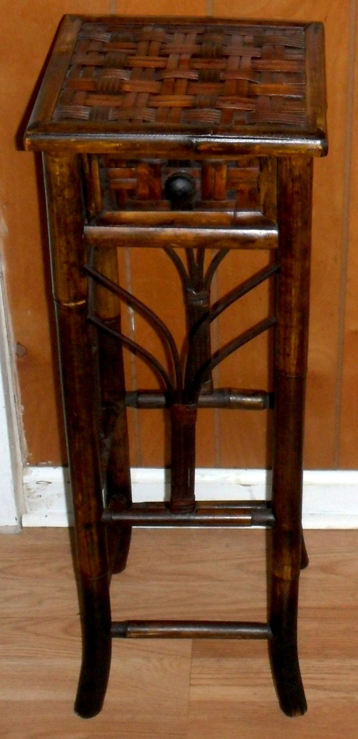 Vintage Asian Bamboo Side Table With Drawer 28 Tall