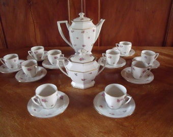 a french coffee set 22 pieces , Limoges , art deco period , very nice condition