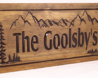 Wooden Carved Cabin Signs Last Name Family Address Plaque with Mountains FREE SHIPPING forest scene nature inspired signs Benchmark Signs