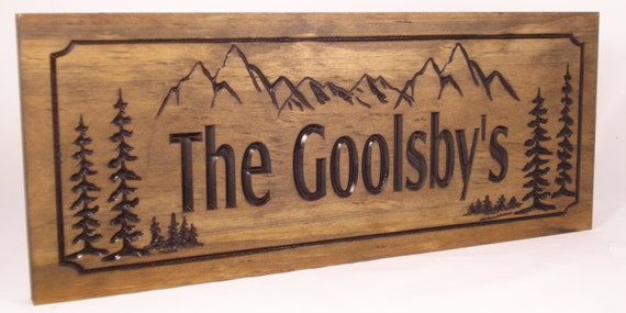 Wooden carved cabin signs last name family address plaque with for Cabin signs wood