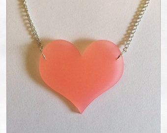 Frosted Pink Simple Heart Acrylic Necklace