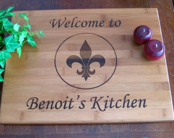 Personalized Cutting Board, Custom Engraved, Fleur De Lis, Wedding Gift, Housewarming Gift, Anniversary Gift, Birthday Gift or Fathers Day