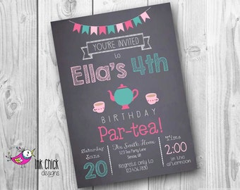 Tea Party Birthday Invitation, Tea Party, Chalkboard Invitation, Printable, Digital File